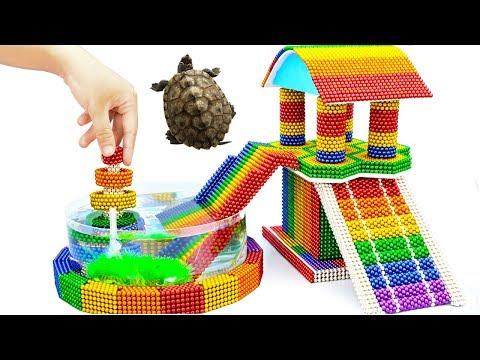 DIY - Build Amazing Aquarium Turtle House Fountain With Magnetic Balls (Satisfying) - Magnet Balls