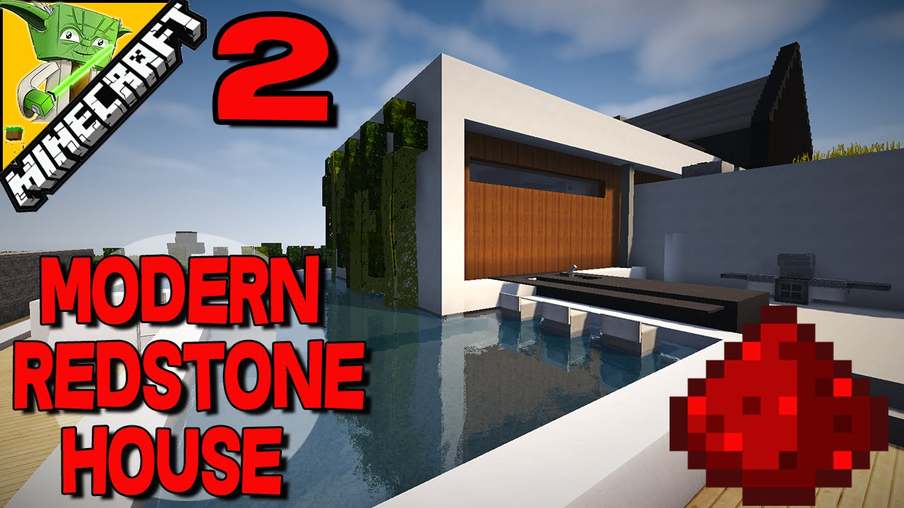 modern house lights. Minecraft Redstone Modern House  w auto lights sinks fires and hidden piston nutella stashes