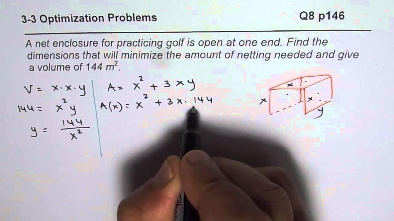 Q8 p 146 optimise minimum surface area for golf net youtube q8 p 146 optimise minimum surface area for golf net ccuart Choice Image
