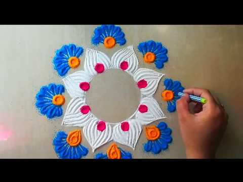 Very easy and quick rangoli design 2018