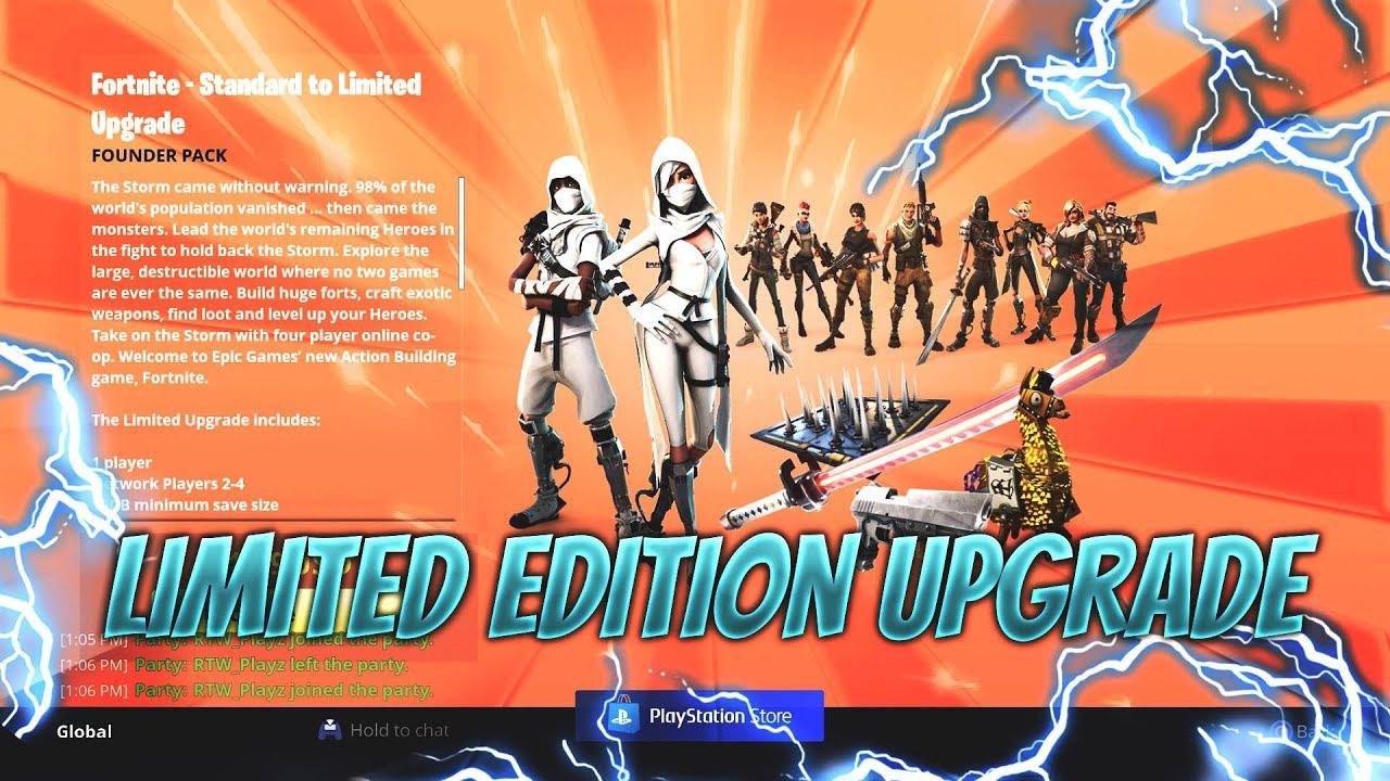 limited edition pack upgrade fortnite save the world - fortnite save the world limited edition