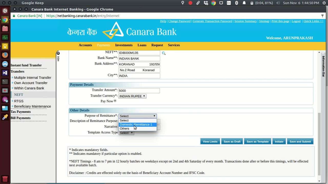 How To Transfer Money In Canara Bank Netbanking Other Accounts Neft Imps You