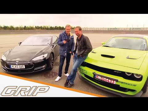 Benziner-Elektro-Battle: Dodge Challenger Hellcat vs. Tesla Model S – GRIP – Folge 324 – RTL2