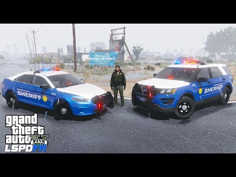 GTA 5 LSPDFR Police Mod #624 Blaine County Sheriff Office - Rainy Night Patrol In The County