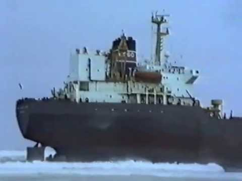 Tanker Ashore on Fraserburgh Beach 1990