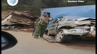 Bad accident at Mai Mahiu escapement after trailer ran over ten vehicles