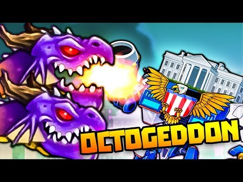 DOUBLE DRAGON HEADS DEFEAT AMERICAN ROBOT! - Octogeddon Gameplay