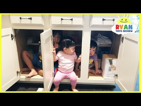 Thumbnail: Kid plays Hide N Seek with twins baby sisters! Family Fun kids Playtime Ryan ToysReview
