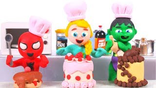 SUPERHERO BABIES MAKE LOTS OF CAKES ❤ Superhero Babies Play Doh Cartoons For Kids