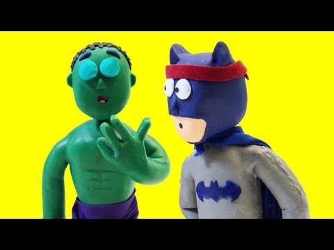 SPIDERMAN AND BATMAN GYM FAIL 🏅 ❤ Play Doh Stop Motion ❤ Superhero Play Doh Cartoon Movies