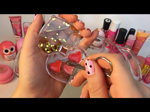 SATISFYING ~ Mixing PINK MAKEUP Into CLEAR SLIME!
