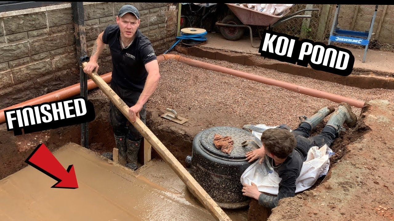 NOW ITS LOOKING LIKE A KOI POND WHAT A DAYS WORK!!! #Part27 of my new dream koi pond