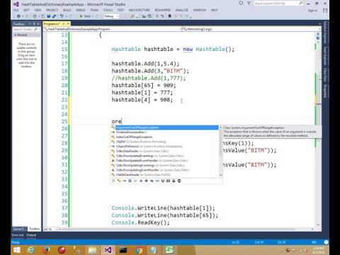 Asp.net HashTable & Dictionary function bangla tutorial-12