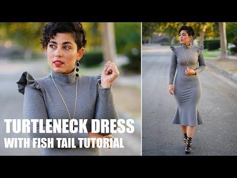 PATTERN HACK: DIY TURTLENECK DRESS WITH FISH TAIL TUTORIAL