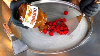 ASMR - nutella Raspberry Ice Cream Rolls  oddly satisfying tingles - binaural fast tapping beats 4k
