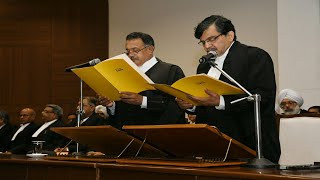 Chief Justice of Punjab and Haryana High Court, administering oath of office to Justice Muralidhar