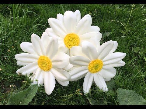 Большие ростовые цветы   Бесплатный мастер-класс ромашка   DIY Camomile