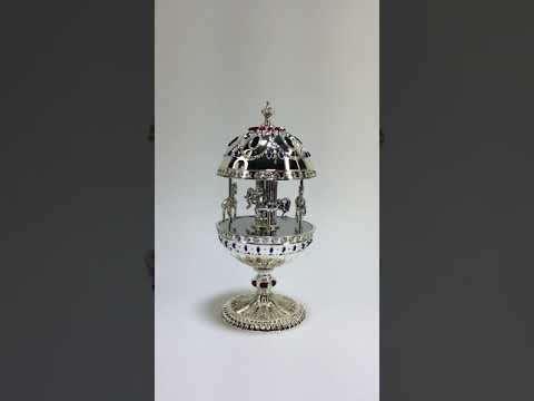 WALLACE SILVERSMITHS Silver Plated Musical Horse Carousel Egg #W075991