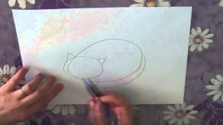 Как нарисовать кота поэтапно. Часть 2.(В этом видео я расскажу о том, как нарисовать спящего кота поэтапно. Рисуйте с нами в нашей группе http://vk.com/shkol..., 2013-05-11T11:45:07.000Z)