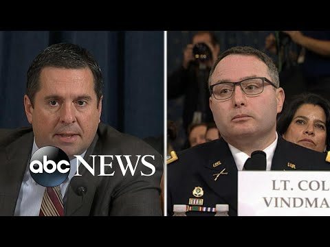 Vindman Corrects Nunes: 'Ranking Member, It's Lieutenant Colonel Vindman, Please' | ABC News