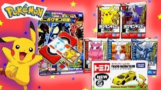 BRINQUEDOS DO POKÉMON: Carro do Pikachu da Tomica, Pokédex e Mini Bonecos (Dedoches)!