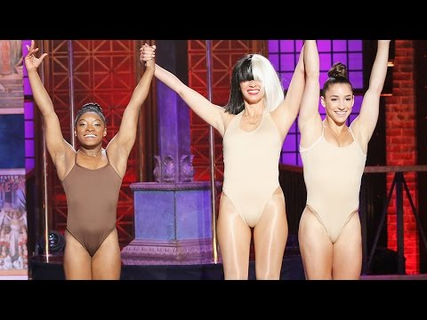 Simone Biles Suffers Wardrobe Malfunction On Lip Sync Battle Live w/ Olivia Munn & Michael Phelps