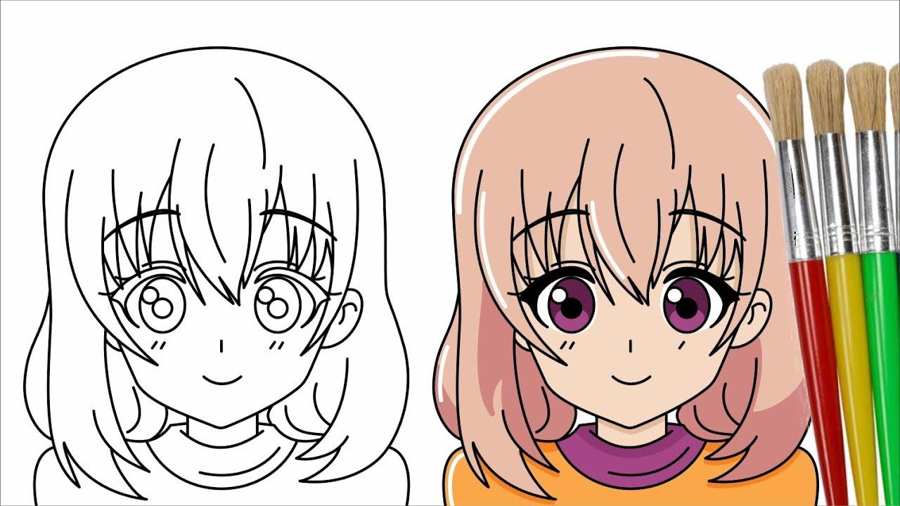 Cara Menggambar Dan Mewarnai Anime Perempuan Youtube