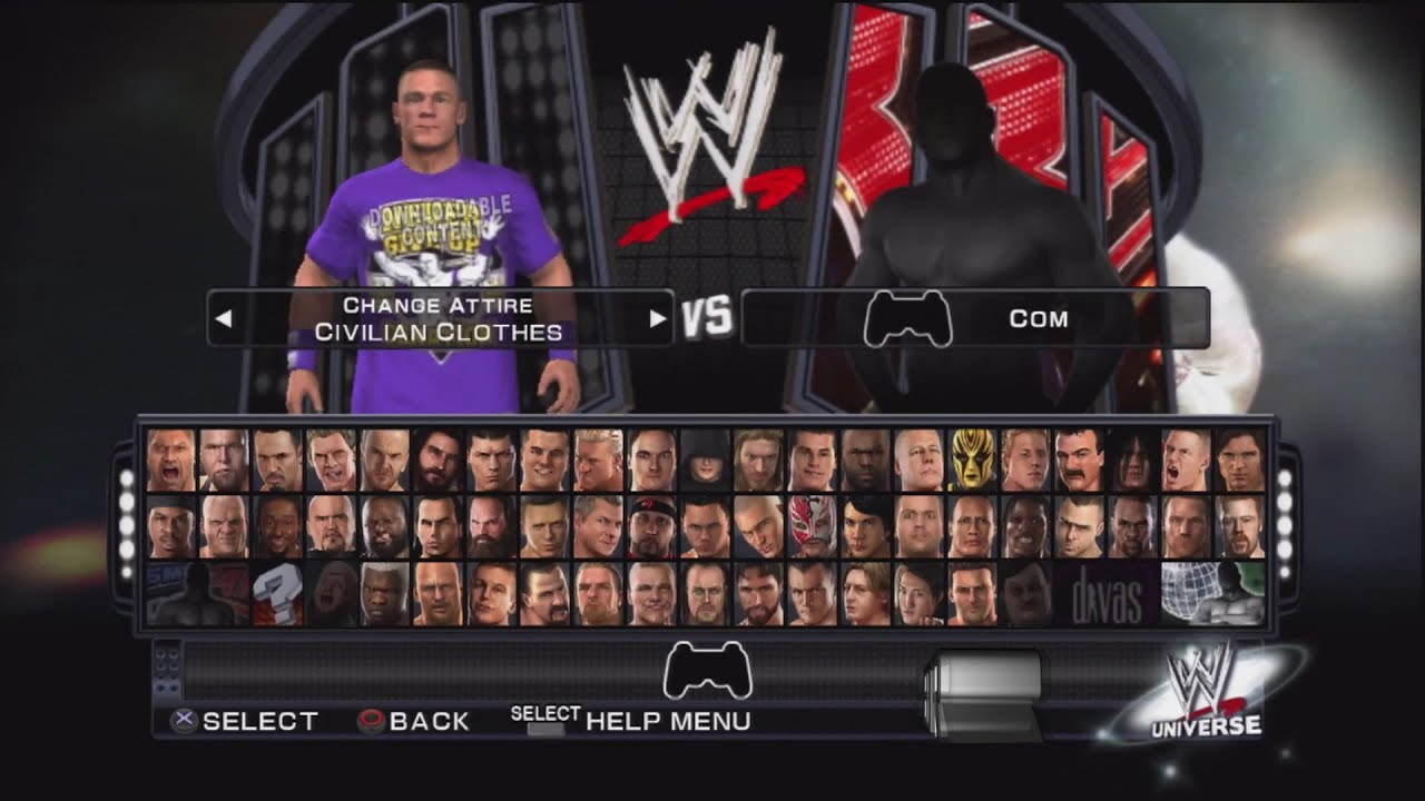 Wwe smackdown vs raw 2011 character select screen including all dlc packs roster youtube