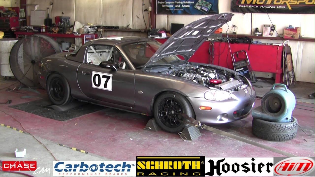 2003 Mazda Miata 1 8L Crate Engine Break In on Dynojet With Good Sound