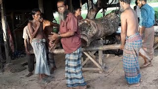 Very Heavy Weighted Wood Cutting at Saw Mill In Bangladesh