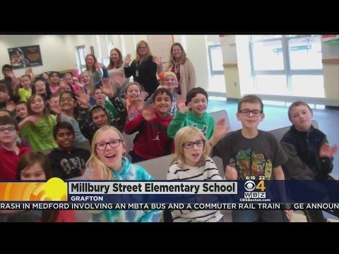 WBZ-TV's Barry Burbank Visits Millbury Street Elementary School