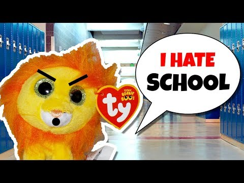 The beanie boo family  Bushy the Lion's first day of school