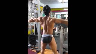 Indian bodybuilding sk Raheem  posing in the gym