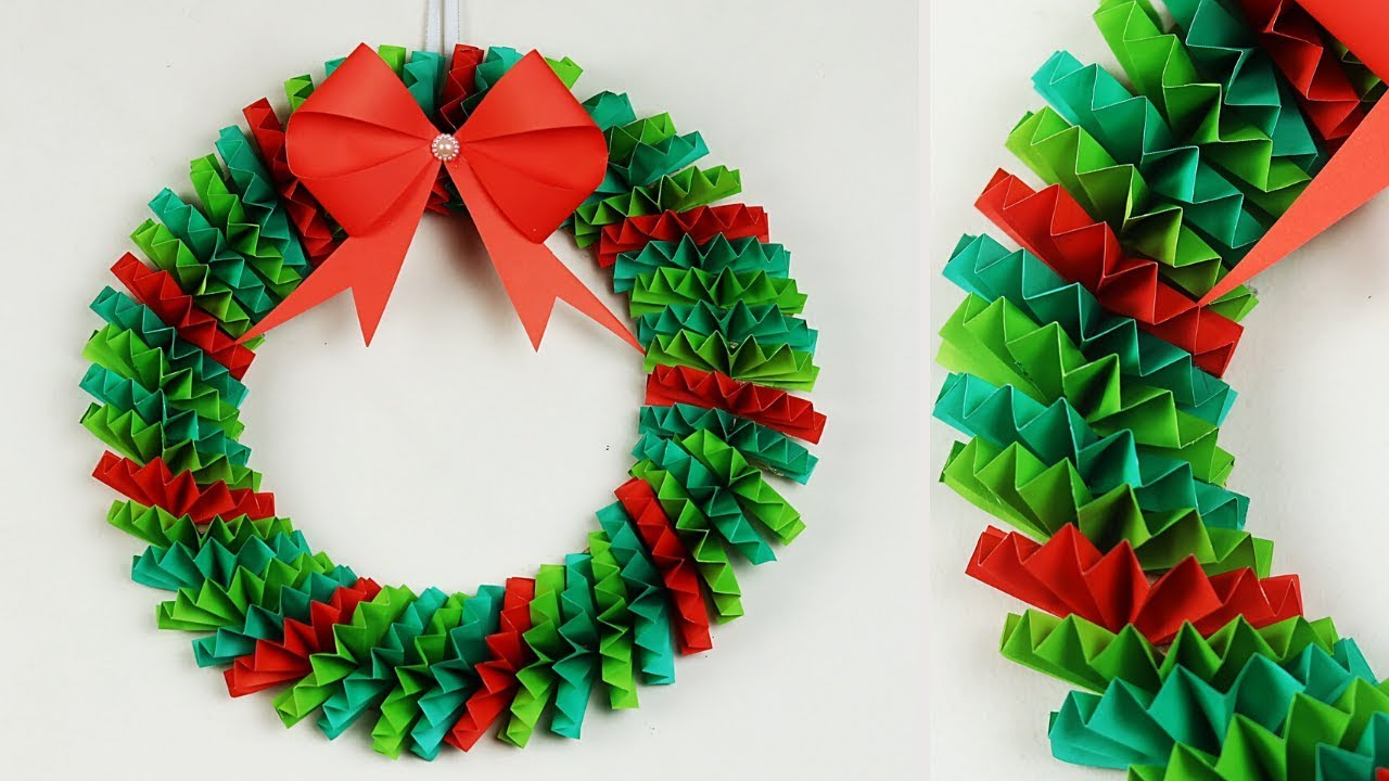 Paper Christmas Wreath How To Make For Decorations Ideas