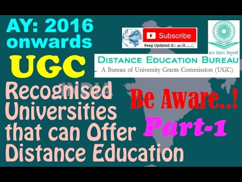 Distance Education Programme | List Approved by UGC Distance Education Bureau | PART 1