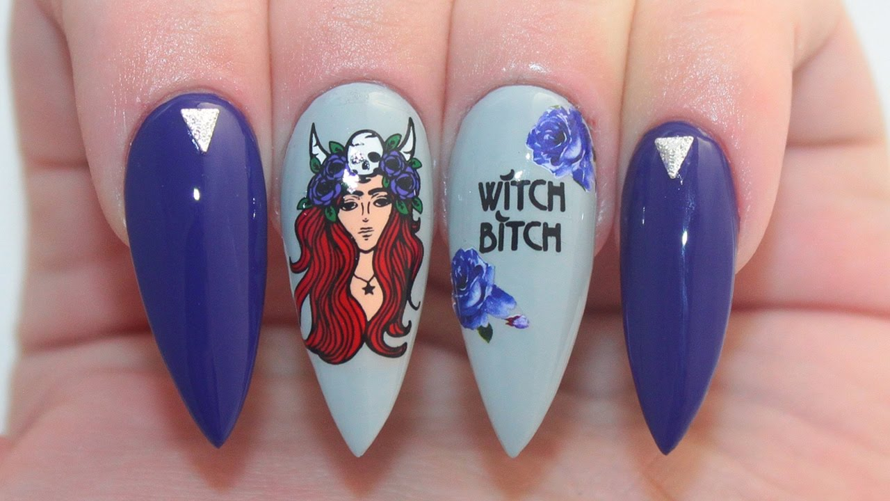 How To: Witch Bitch Halloween Acrylic Nails Tutorial - YouTube