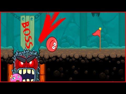 БОСС ВЫЛЕЗ ЗА ПРЕДЕЛЫ УРОВНЯ в игре красный шарик  про New Red Ball 4.для детей.