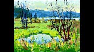 "Artist Sarkis Antikajian's Landscape TIMELAPSE Gouache Painting Demo:  ""Lowland Near Fern Ridge"""