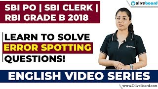 SBI PO 2018 | Error Spotting | English Videos
