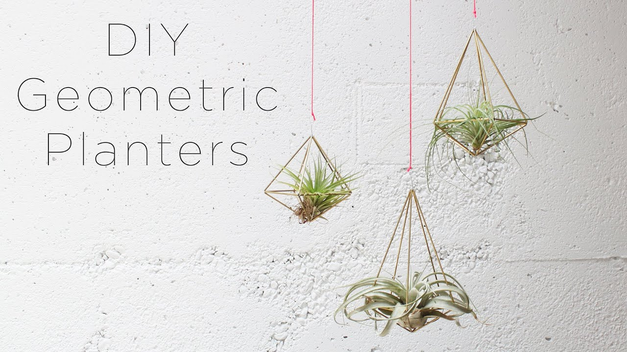 Hanging geometric planters for air plants youtube for Air plant planters
