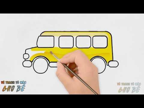 Cách vẽ tranh tô màu XE BUS cho bé đến trường | How to Draw a School Bus | VẼ TRANH TÔ MÀU CHO BÉ