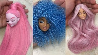 Barbie Doll Makeover Transformation ~ DIY Miniature Ideas for Barbie ~ Wig, Dress, Faceup, and More!