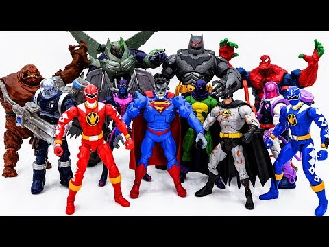 Power Rangers & Marvel Avengers Toys Pretend Play | SPIDER HULK & BATMAN vs Villains