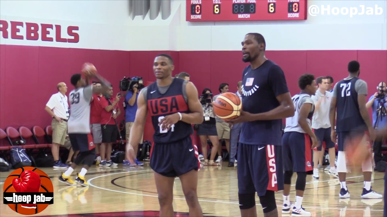 f1cf5b09b85 Kevin Durant   Russell Westbrook Full 2018 USA Basketball Day 1 Workout  With Kyrie   Pop HoopJab NBA