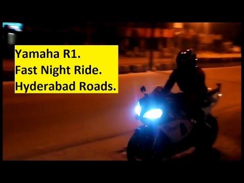 Yamaha R1. Fast Night Ride. Hyderabad Roads. India.