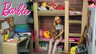 Barbie Bunk Bed Bedroom Morning Routine -  Barbie Doll House Toys for Kids