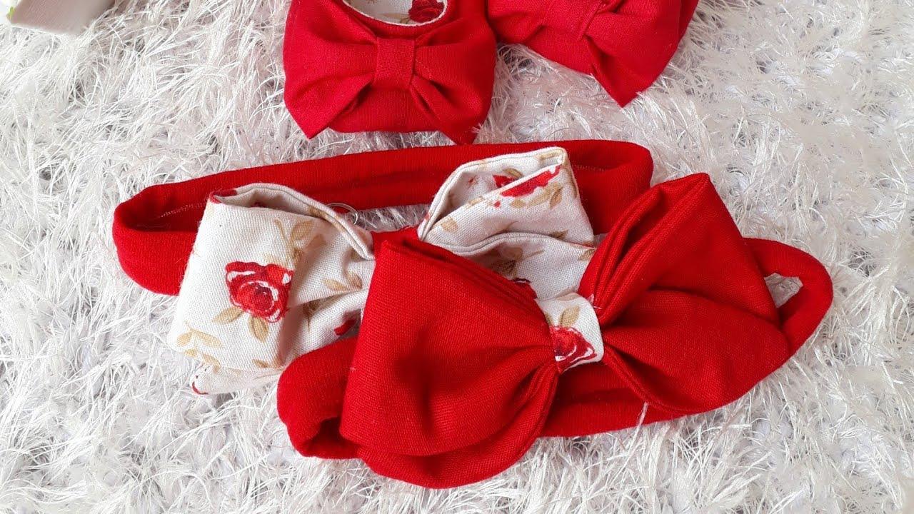 Laço em tecido/ Como fazer faixinha para bebê.