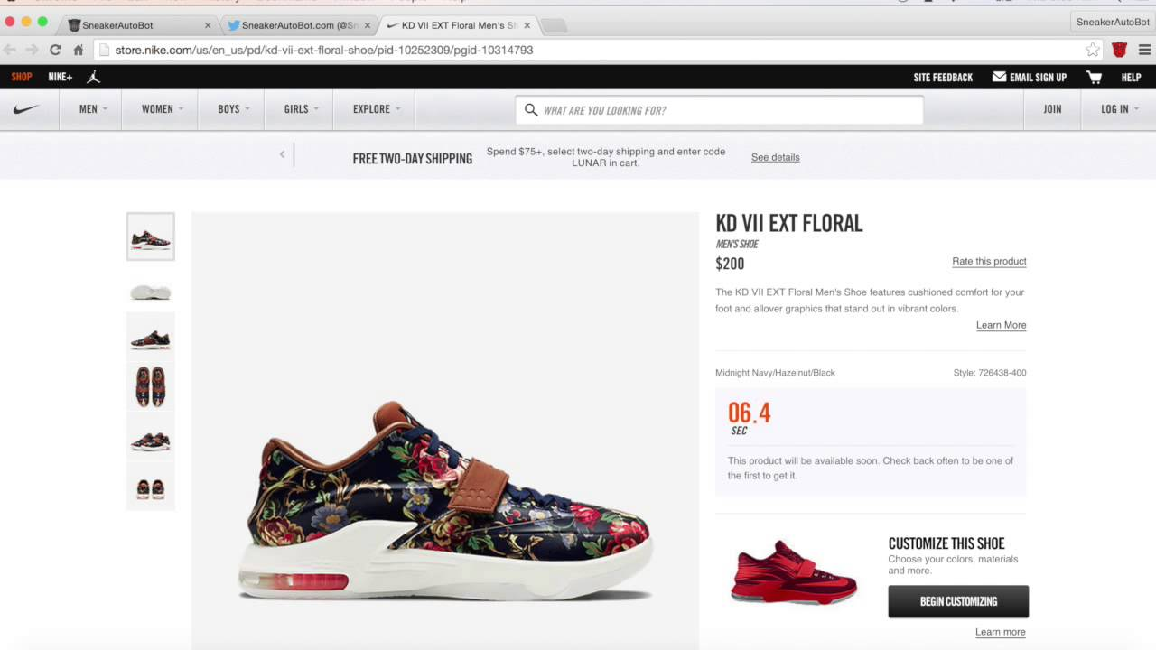 SneakerAutoBot Copped KD 7 EXT \u0026quot;Floral\u0026quot; - Nike bot