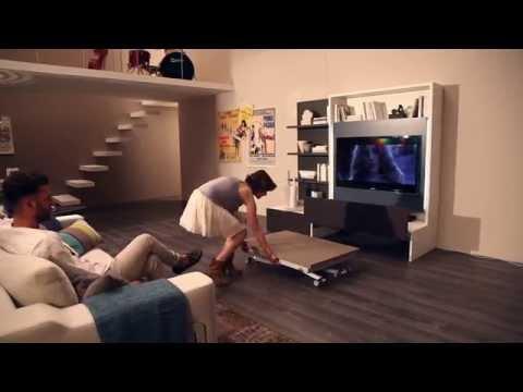 Italian space saving furniture SMART LIVING - Parete attrezzata, mobile porta tv by Ozzio