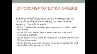 Tribal Protection Orders - Enforcing protection orders generally and for VAWA SDVCJ